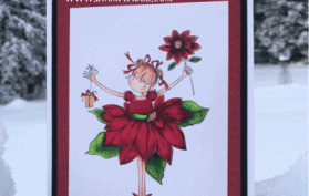 Poinsettia flower girl holding present