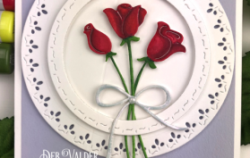 Red Roses with Stitched Square and Circle Die