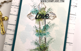 Wooden Crosses are surrounded by flowers and foliage watercolor
