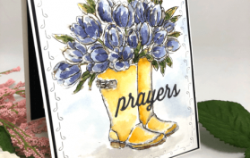 A tutorial on how to watercolor using blooming boots and tulips