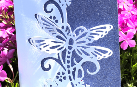 Dragonfly Edger paired with our Blue Violet Sparkle Paper.