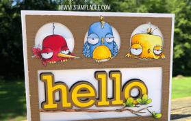 Oddball Peekaboo Card done with the Oddball Birds and Peekaboo Window die