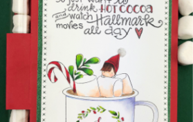 Cutest Hallmark Hot Cocoa gift holder can be found in the Teaspoon of Fun Shoppe