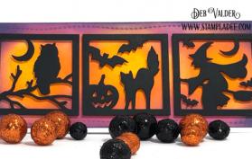 Spookiy Windows, Slimline Card Builder, Halloween Word Die are all found in our Teaspoon of Fun Shoppe.